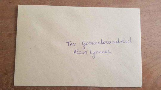 kaartje van een bredenaar voor Alain Lynneel 1